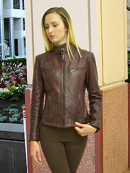 Higgs Leathers HALF PRICE SAVE £75!  Libby (ladies Wine Leather Biker jackets)